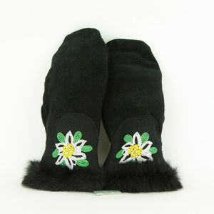 ASTIS New Mittens NWT Flower Short Cuff LEATHER